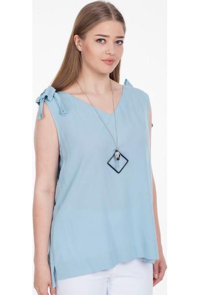 Reaction Exclusive Askılı V Yaka Kadın Mavi Bluz 100277