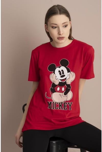 Tena Kadın Kırmızı Mickey Mouse Baskılı T-Shirt 9YBTS1070-5