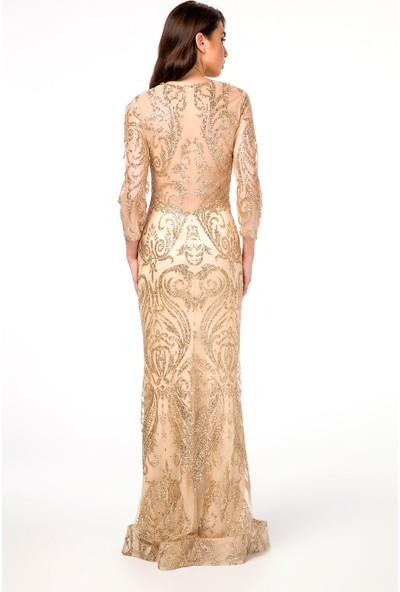Abiye Sarayı Gold Transparan Detaylı Simli Uzun Abiye Elbise