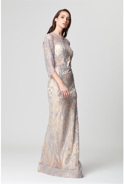 Abiye Sarayı Gümüş Transparan Detaylı Simli Uzun Abiye Elbise