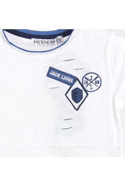 Jack Lions Erkek Bebek Lazer Kesim Kısa Kol T-Shirt