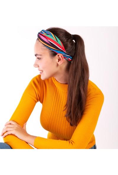 Akel Kadın Mavi Yeşil Sarı Saç Bandı