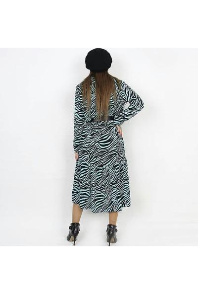 Sateen Zebra Desenli Uzun Kollu Elbise