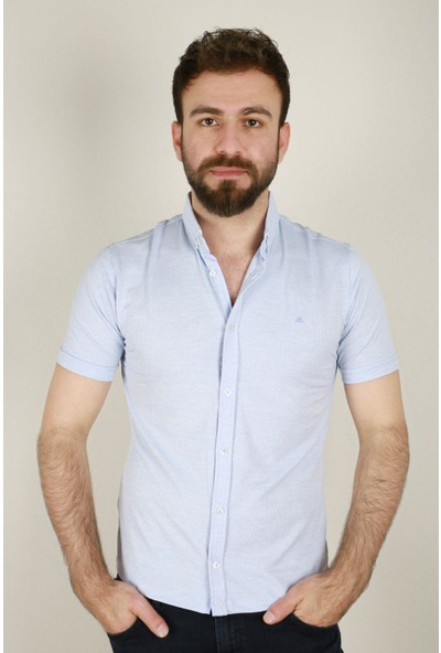 Z Giyim Erkek Kısa Kol Petek Desenli Gömlek 3835ZGM20