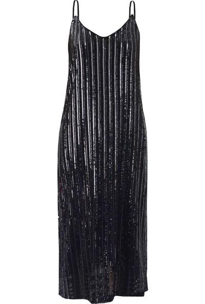 Daynnite Askılı Payet Elbise Siyah S