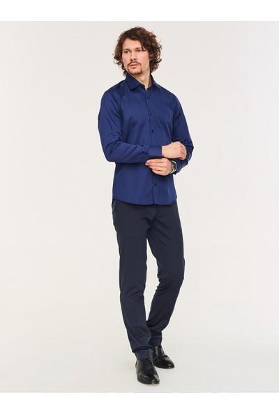 Chamis France Slimfit Lacivert Klasik Yaka Gömlek