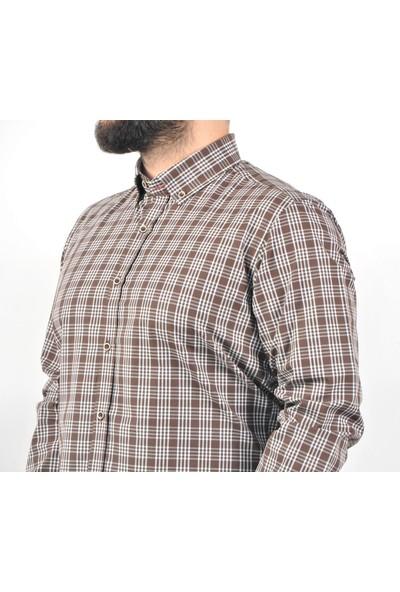 Chamis France Slimfit Kahverengi Ekose Düğmeli Yaka Gömlek