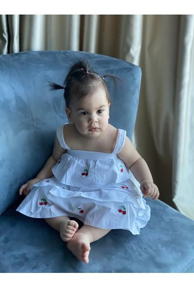 Bleu Lapin Baby Cherry Lady Elbise Beyaz 12 - 18 Ay