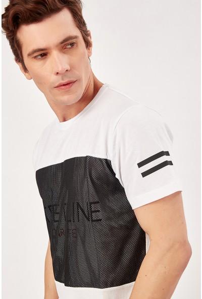 Manche Beyaz Erkek File Detayli T-Shirt Me20S214745