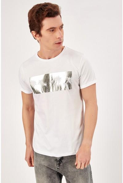 Manche Beyaz Erkek Palmiye Varak Baskılı T-Shirt Me20S214727