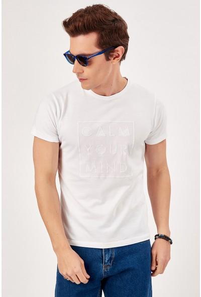 Manche Beyaz Erkek T-Shirt Me20S214878