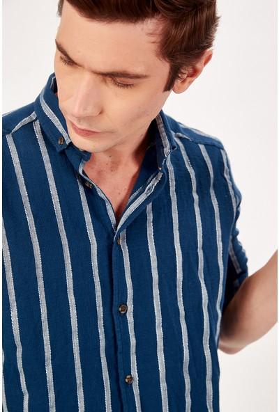 Manche İndigo Erkek Gömlek Me20S112580