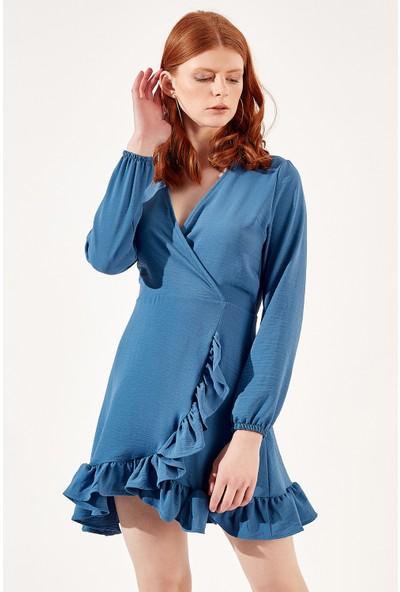 Manche İndigo Kadın Yandan Fırfırlı Kruvaze Yaka Elbise Mk20S283762