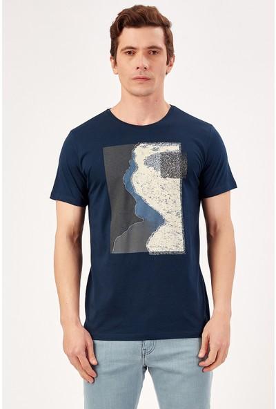 Manche Lacivert Erkek Baskılı Nakişli T-Shirt Me20S214880
