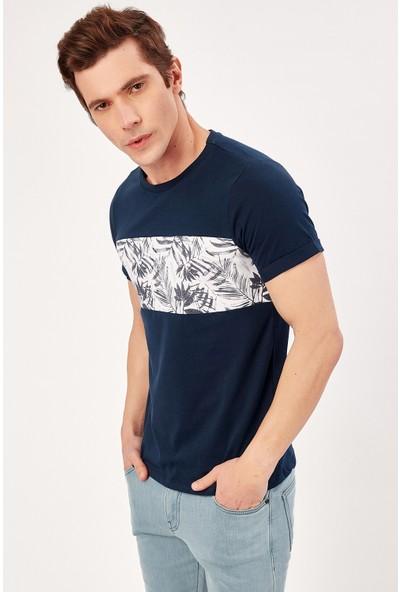 Manche Lacivert Erkek Palmiye Baskılı T-Shirt Me20S214818