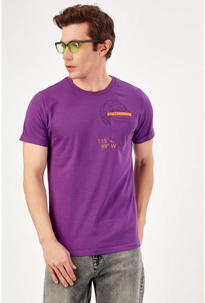 Manche Mor Erkek Cep Alti Baskılı T-Shirt Me20S214721