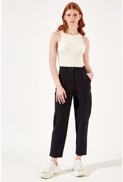 Manche Siyah Kadın Ekose Salaş Pantolon Mk20S665215
