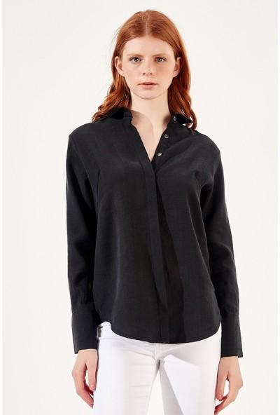 Manche Siyah Kadın Gömlek Mk20S162593