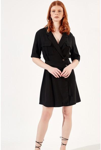 Manche Siyah Kadın Gömlek Mk20S163002