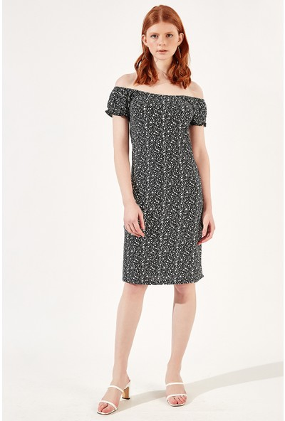 Manche Siyah Kadın Minik Çiçek Baskılı Elbise Mk20S280039