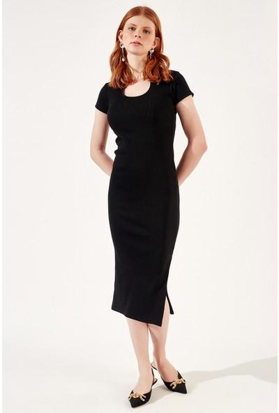 Manche Siyah Kadın YırtmaçlıTriko Elbise Mk20S286772