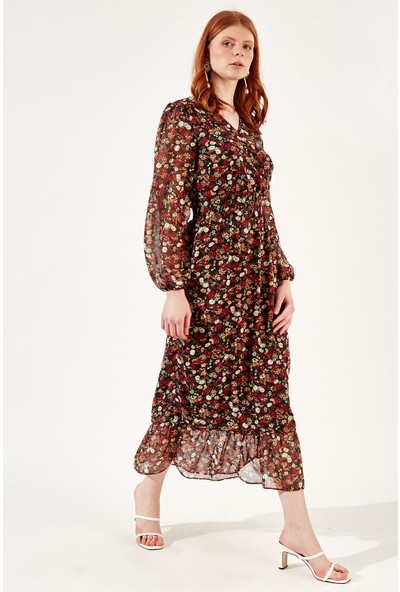 Manche Siyah-Kırmızı Kadın Beli Lastikli Uzun Elbise Mk20S280111