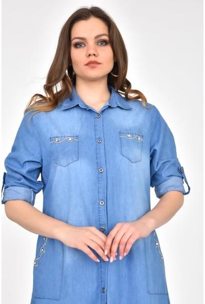 Modkofoni Göğüs ve Ceplerde Taş Dizinli Yıkamalı Açık Mavi Tunik