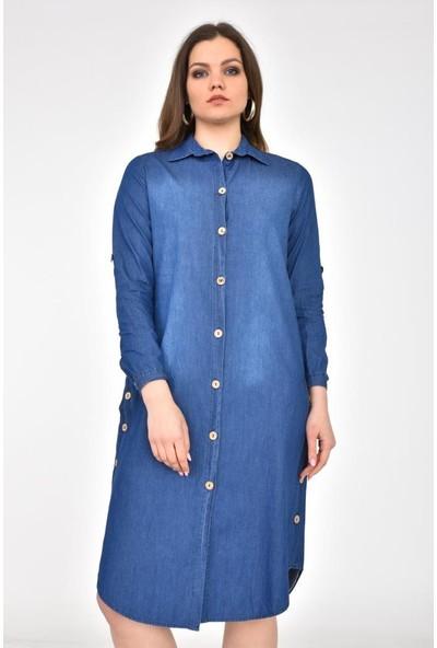 Modkofoni Yandan ve Önden Düğmeli Kolları Katlanabilir Yıkamalı Koyu Mavi Elbise