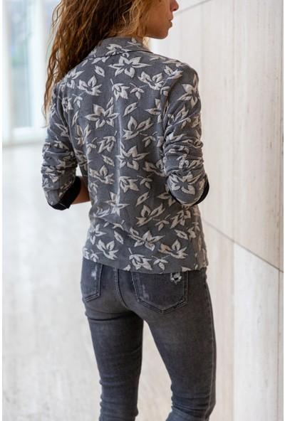 New Laviva Astarsız Uzun Kollu Antrasit Kadın ceket