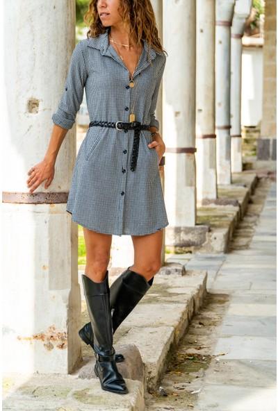 New Laviva Pitikare Mini Gri Kadın Elbise