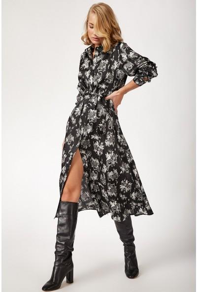 New Laviva Uzun Kollu Çiçek Desenli Uzun Boy Gömlek Elbise Siyah Kadın Elbise