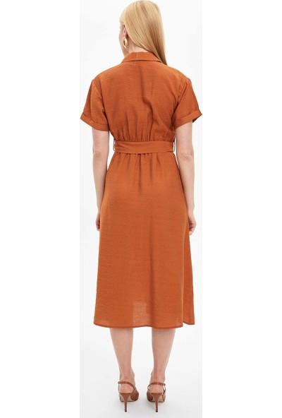 DeFacto Kadın Düğme Detaylı Kemerli Dokuma Elbise