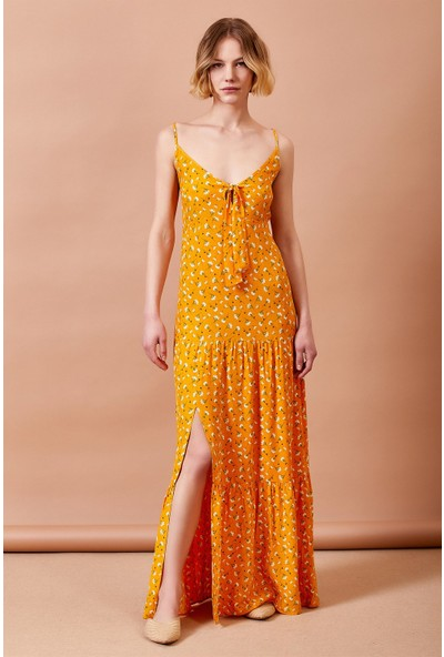 Never More Desenli Askılı Sari Elbise