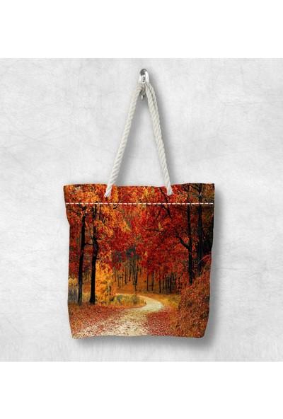 Else Sonbahar Ağaçlar 3D Desenli Fermuarlı Kumaş Omuz Çantası