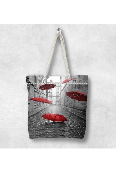 Else Kırmızı Şemsiyeli 3D Desenli Fermuarlı Kumaş Omuz Çantası