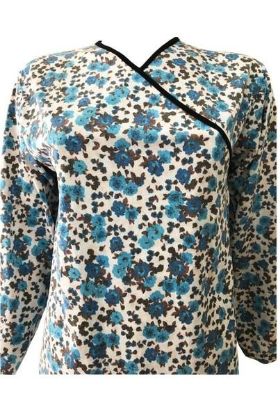 Hazal Namaz Elbisesi Mavi Çiçek Desen Bağlamalı Model
