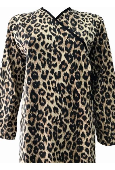 Hazal Namaz Elbisesi Leopar Desen Bağlamalı Model