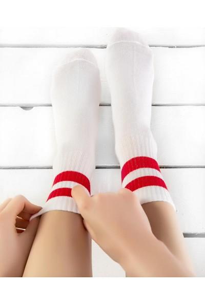 Brogetti Serena Kırmızı Çizgili Beyaz Tenis Çorap