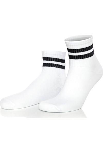Brogetti Serena Siyah Çizgili Beyaz Tenis Çorap