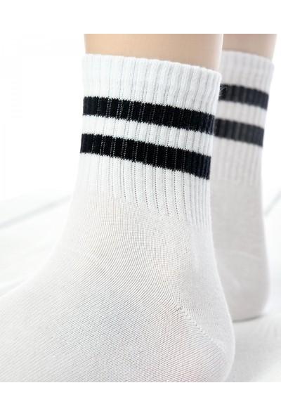 Brogetti Serena Beyaz Renk Siyah Çizgili Tenis Çorap