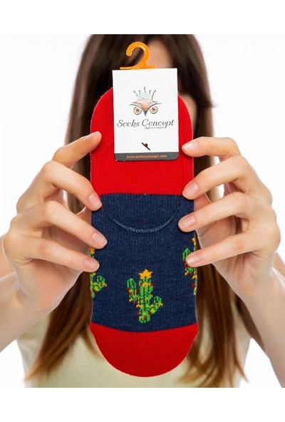 Socks Concept Kırmızı-Lacivert Kaktüs Desen Babet Çorap