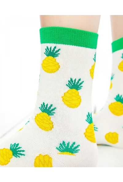 Socks Concept Ananas Desenli Beyaz Soket Çorap