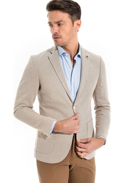 Morven Cotton Trend Slim Fit Ceket Bej