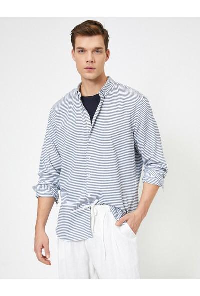 Koton Erkek Dügmeli Yaka Yatay Çizgili Regular Fit Gömlek
