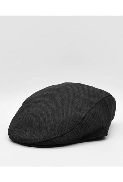 Külah Erkek Keten Kasket Yazlık Şapka-Siyah