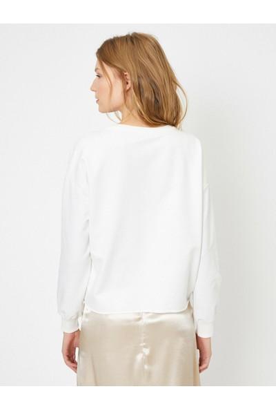 Koton Kadın Payet Detaylı Uzun Kollu T-Shirt