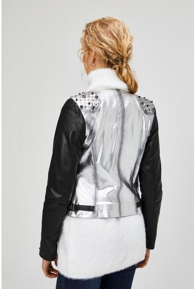 Deri Effect Moonlight Kadın Deri Ceket Gümüş S