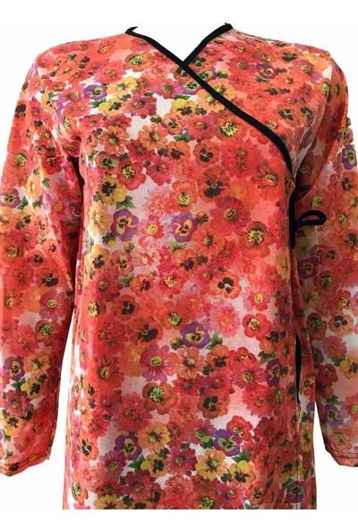 Hazal Namaz Elbisesi Turuncu Batik Desen Bağlamalı Model
