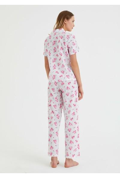 Suwen Femme Flower Maskulen Pijama Takımı - Çiçek Baskılı L