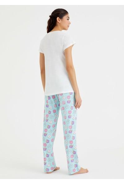 Suwen Bella Pijama Takımı - Donut Print M